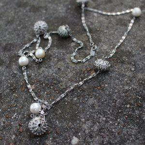 Jewelry - [5/$25] Long Silver Chain Scatter Pearl